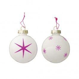 Skleněná vánoční ozdoba Neon pink stars Hvězda, růžová barva, sklo
