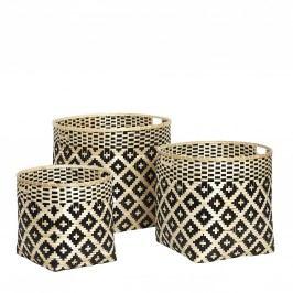 Kulatý bambusový koš Pattern Velikost S, béžová barva, černá barva, proutí