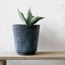 Kovový obal na květináč Marble effect, černá barva, kov