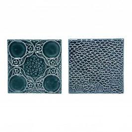 Dekorativní nástěnná kachle Vzor kolečka, zelená barva, keramika