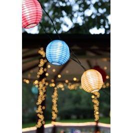 Světelný lampionový řetěz na solární napájení Festival, multi barva, plast, papír