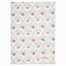 Bavlněná utěrka Daisy pale grey, růžová barva, bílá barva, textil