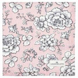 Látkový ubrousek Ella pale pink, růžová barva, šedá barva, bílá barva, textil