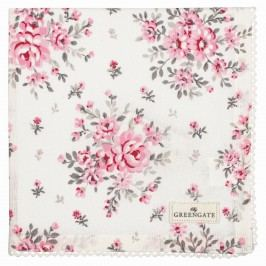 Bavlněný ubrousek s krajkou Flora white, růžová barva, bílá barva, textil