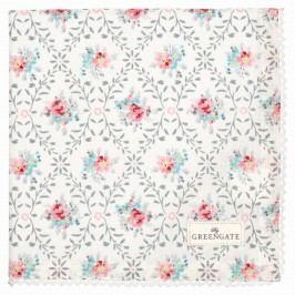 Bavlněný ubrousek s krajkou Daisy pale grey, růžová barva, modrá barva, šedá barva, bílá barva, textil