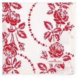 Bavlněný ubrousek s krajkou Fleur red, červená barva, bílá barva, textil