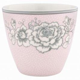 Latte cup Ella pale pink, růžová barva, šedá barva, bílá barva, porcelán 300 ml