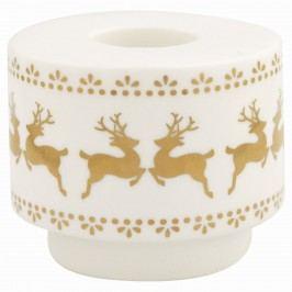 Keramický svícen Ivy Gold, bílá barva, keramika