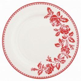 Dezertní talíř Fleur red, červená barva, bílá barva, porcelán