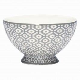 Francouzská miska Jasmina warm grey M, šedá barva, bílá barva, porcelán