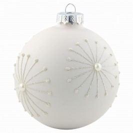 Vánoční baňka Glass white/pearl, bílá barva, sklo