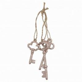 Dekoratviní klíče Gold - set 3ks, zlatá barva, kov