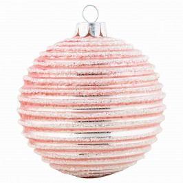 Vánoční baňka Glass pink/gold, růžová barva, sklo
