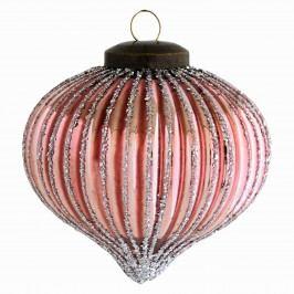 Vánoční baňka Onion Glass, růžová barva, sklo