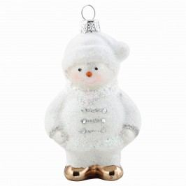 Ozdoba na stromeček Snowman, bílá barva, sklo