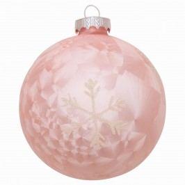 Vánoční baňka Glass pale pink, růžová barva, sklo