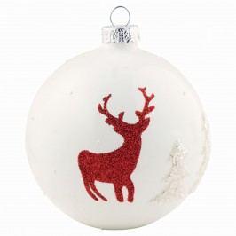 Vánoční baňka Deer, červená barva, bílá barva, sklo