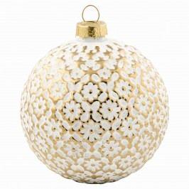 Vánoční baňka Flower gold, bílá barva, zlatá barva, sklo
