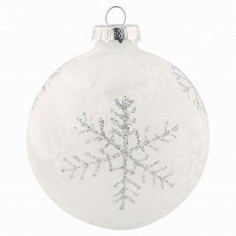 Vánoční baňka Glass white, bílá barva, sklo