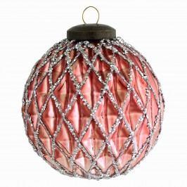 Vánoční baňka Rose waffles, růžová barva, sklo