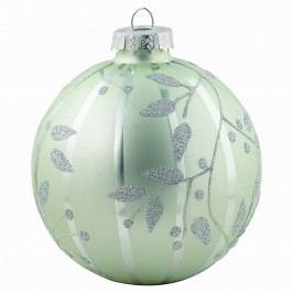 Vánoční baňka Glass pale green, zelená barva, stříbrná barva, sklo