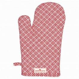 Grilovací rukavice Jasmina red, červená barva, bílá barva, textil