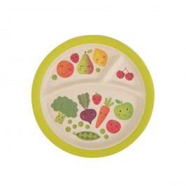 Bambusový talířek Happy Fruits & Veg, zelená barva