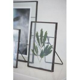 Skleněný fotorámeček s opěrkou, šedá barva, čirá barva, sklo, kov