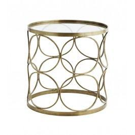 Odkládací stolek Circle Brass, zlatá barva, sklo, kov