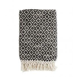 Ručně tkaný bavlněný pléd 120x170 cm, černá barva, krémová barva, textil