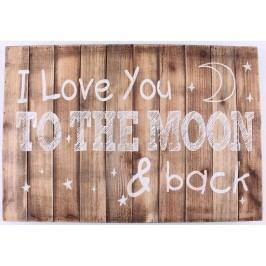 La finesse Dřevěná cedule I love you to the moon, hnědá barva, dřevo
