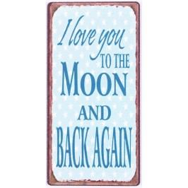 I love you to the moon, modrá barva, kov