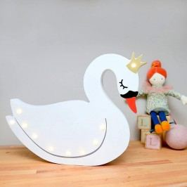 Smiling Faces Svítící LED labuť, bílá barva, dřevo