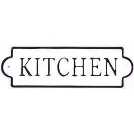 La finesse Plechová cedule Kitchen White, černá barva, bílá barva, kov