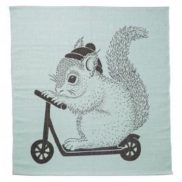 Koberec do dětského pokoje Squirrel Mint, zelená barva, černá barva, textil