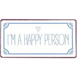 I´m a happy person, modrá barva, bílá barva, kov