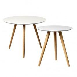 Kulatý stolek Bamboo/white Menší, béžová barva, bílá barva, dřevo