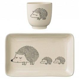 Tácek s kalíškem pro děti Hedgehog - set 2 ks, béžová barva, keramika