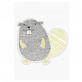 Nástěnná samolepka Beaver, černá barva, plast