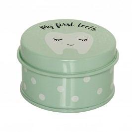 Kovová krabička na zoubky Mint, zelená barva, kov