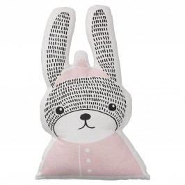 Dětský polštářek ve tvaru králíka Sophia Rabbit, růžová barva, bílá barva, textil