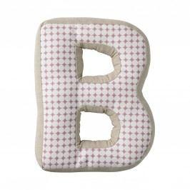 Dětský polštářek Checked ve tvaru písmene B, růžová barva, béžová barva, bílá barva, textil