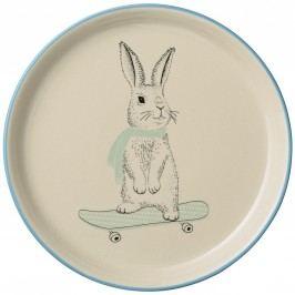 Keramický talíř Marius Rabbit, modrá barva, zelená barva, béžová barva, krémová barva, keramika