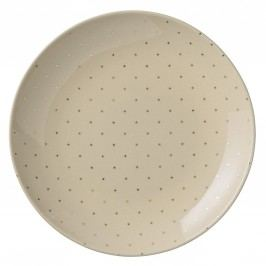 Keramický talíř Fanny Gold 25 cm, zlatá barva, krémová barva, keramika