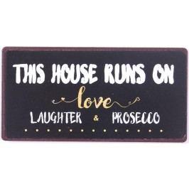Love, Laugh, Prosecco, fialová barva, černá barva, kov