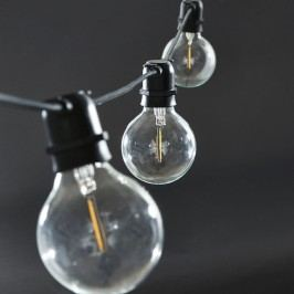 Světelný řetěz s 10ti LED žárovkami - black 10,2m, černá barva, čirá barva, sklo, plast
