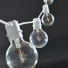 Světelný řetěz s 10ti LED žárovkami - white 10,2m, bílá barva, čirá barva, sklo, plast
