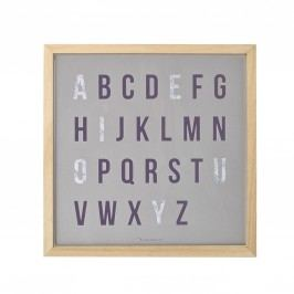 Dřevěný obrázek s písmeny Letters, fialová barva, šedá barva, dřevo