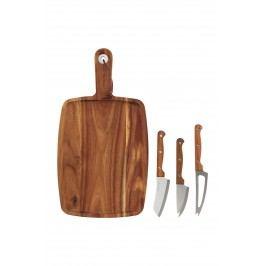 Akátové prkénko + 3 nože na sýr, hnědá barva, dřevo, kov