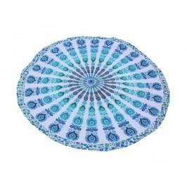 La finesse Kulatá plážová deka Blue 180 cm, modrá barva, zelená barva, textil